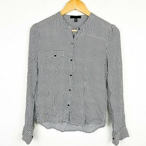 Joes houndstooth top fitted long sleeve button up